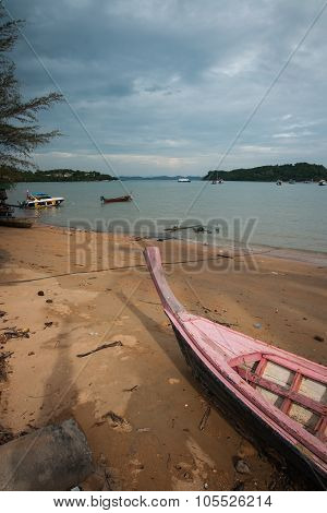 Long-tail Boat On The Beach And Brige, Phuket, Thailand