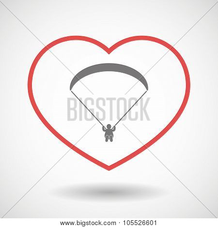 Line Heart Icon With A Paraglider