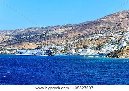 Ferry port of the Greek Island Ios