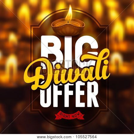 Diwali holiday big offer, bright background for business promotion. Vector illustration.
