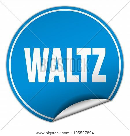Waltz Round Blue Sticker Isolated On White