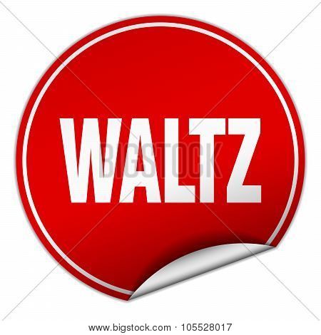 Waltz Round Red Sticker Isolated On White