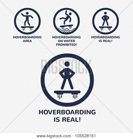 Vector Minimal Icon Set. Stick Man On Real Hoverboard.