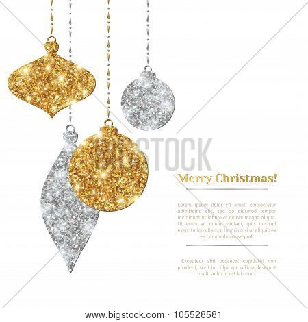 Christmas Background with Silver and Gold Hanging Baubles.