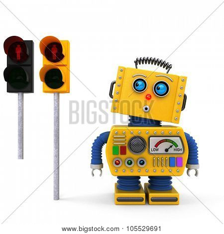 Concept of yellow vintage toy robot stopping at a red pedestrian traffic light. Alternative European traffic light version added for easy replacement.