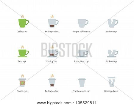 Coffee cup color icons on white background