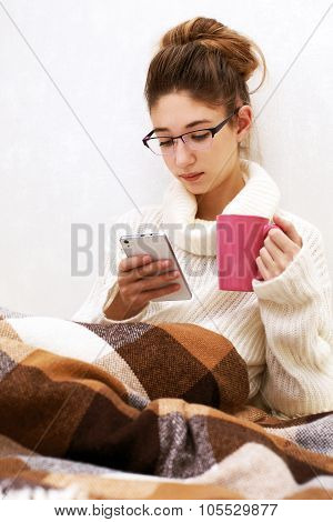 Soft Portrait Of Cute  Teenage Girl With Palmtop At Home
