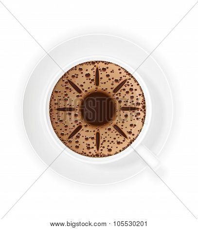Cup Of Coffee Crema And Symbol Sun Vector Illustration