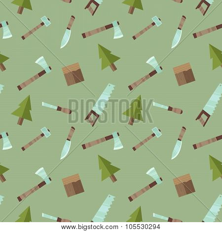 Seamless Vector Pattern Lumberjack Logging With Tools In Flat Cartoon Style