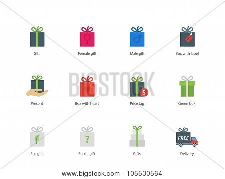 Present boxes color icons on white background.