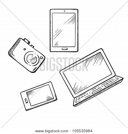 Smartphone, tablet pc, laptop and camera