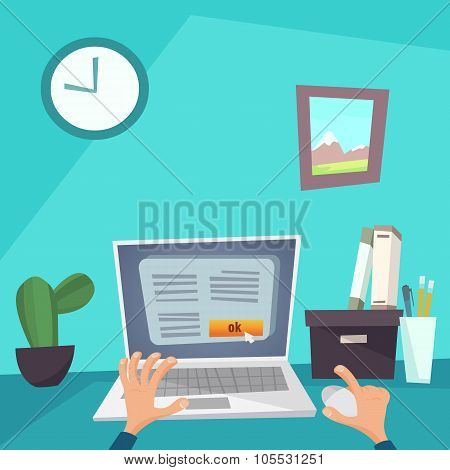 Vector Flat Illustration Home Office Freelance Work Desktop With Laptop Hand And Mouse