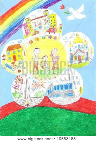 Happy Family Of The Earth. Love, Peace. The Kid And The Parents. Father, Mother, Daughter, Baby.draw