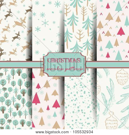 Set of winter seamless patterns.