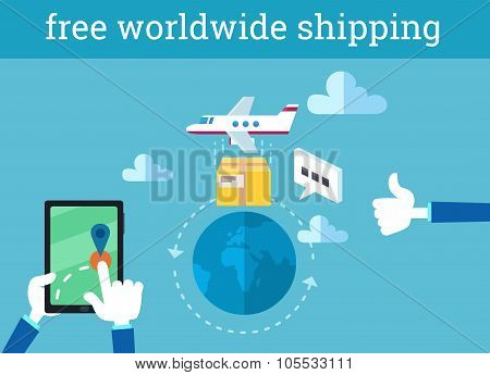 Vector Infographic Illustration of Free Worldwide Shipping