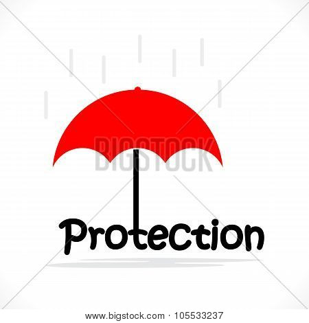 Protection Title Texts With The Red Umbrella.protection And Security Concept.
