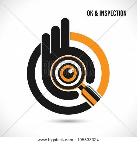 Creative Hand With Searching And Looking For Talent.hand Ok Symbol Icon.searching And Inspection Con