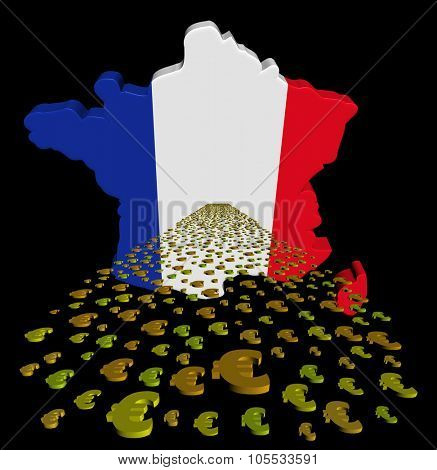 France map flag with euros foreground illustration