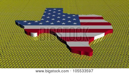 Texas map flag on golden dollars coins illustration