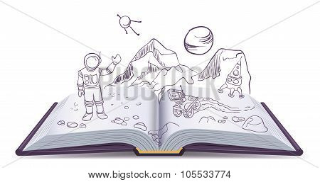 Open book Martian. Science Fiction space