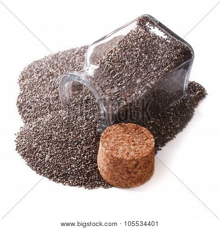 Carefully Selected Chia Seeds Spill Out Of A Jar Close Up Isolated On White