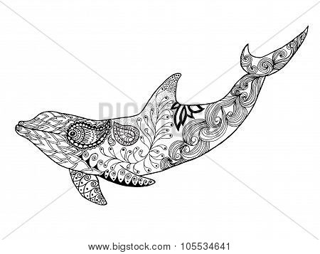 Cute dolphin. Adult antistress coloring page