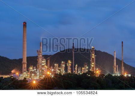 Oil Refinery Factory At Dark
