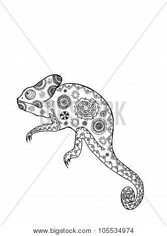 Zentangle stylized chameleon.