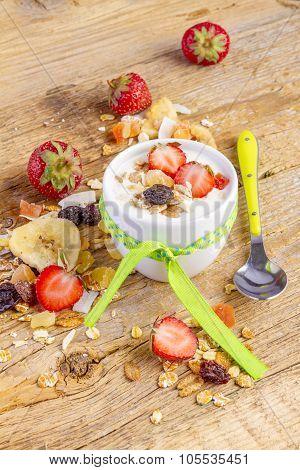 Yogurt With Cereals Muesli and Fresh Strawberry