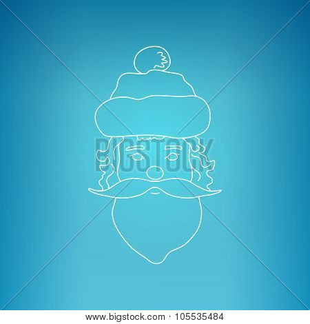 Santa Claus Face On A Blue Background