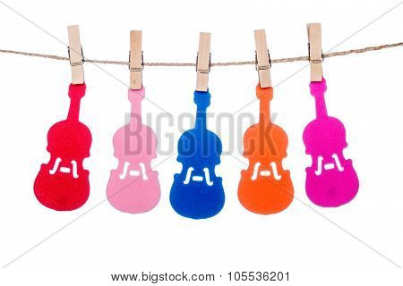 Clip On A  Twine , Hanging Colorful  Guitar Violin Music