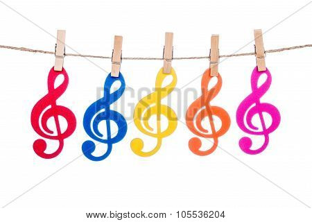 Clip On A  Twine , Hanging Colorful Music Clef