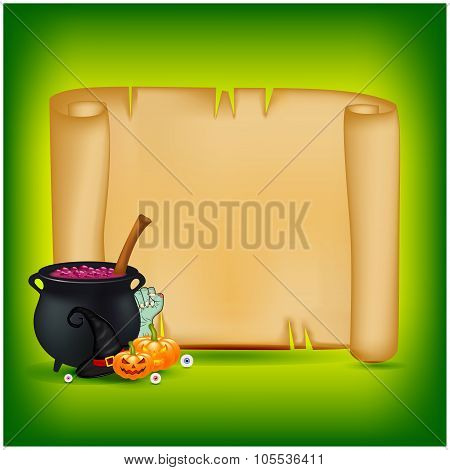 Halloween Banner, Card With Empty Paper Scroll And Witches Cauldron, Potion, Pumpkin. Blank Ancient