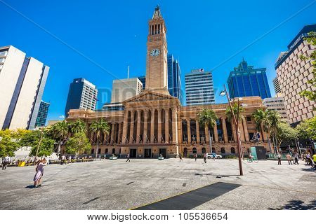 BRISBANE, AUS - OCT 21 2015: View of City Hall in Brisbane. The building is used for royal receptions, concerts, civic greetings and political meetings.
