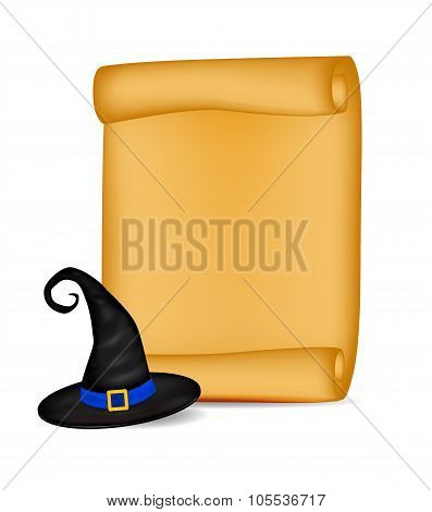 Halloween Banner, Card With Empty Paper Scroll And Witches Hat. Blank Ancient Scroll Of Parchment Wa
