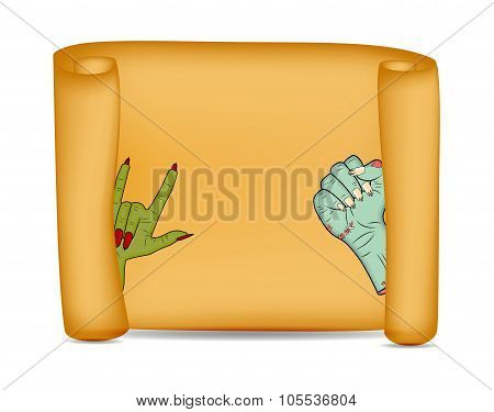Halloween Banner, Card With Empty Paper Scroll And Zombie, Monster Hand. Blank Ancient Scroll Of Par