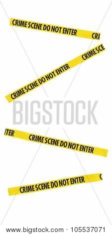 Yellow And Black Crime Scene Do Not Enter Tape Blocking Doorway - Isolated For Editing Into Images
