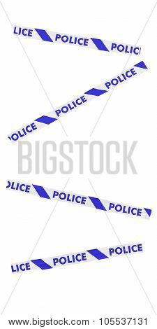 Blue And White Police Tape Blocking Doorway - Isolated For Editing Into Images