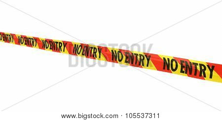 Red And Yellow Striped No Entry Tape Line At Angle