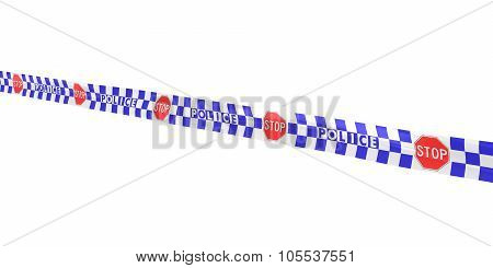 Blue And White Checkered Police Stop Sign Tape Line At Angle
