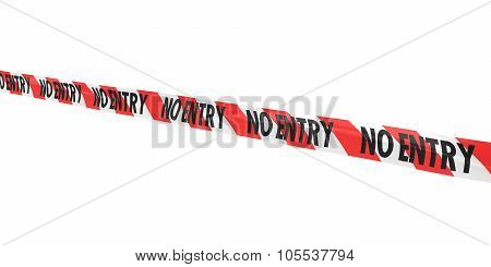Red And White Striped No Entry Tape Line At Angle
