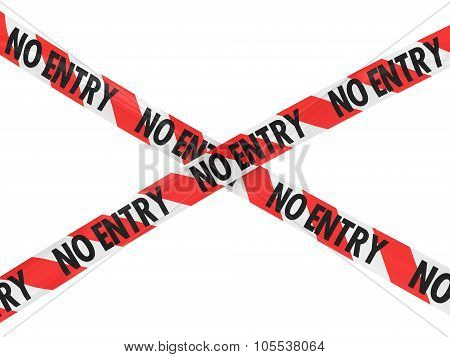 Red And White Striped No Entry Barrier Tape Cross