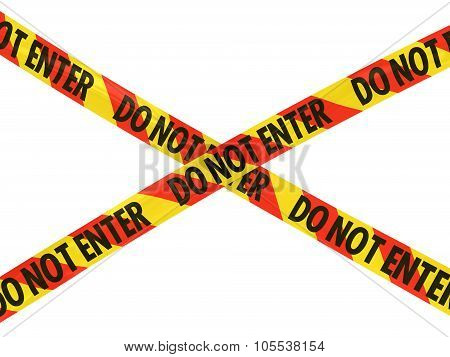 Red And Yellow Striped Do Not Enter Barrier Tape Cross