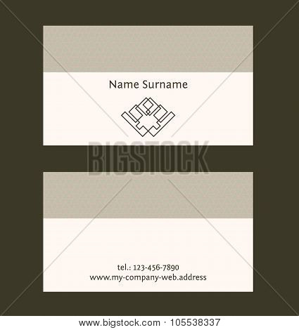 Business Card Layout. Linear Geometric Logo And Pattern. Editable Design Template