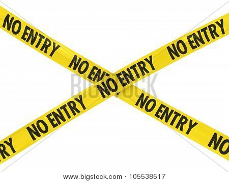 Yellow No Entry Barrier Tape Cross