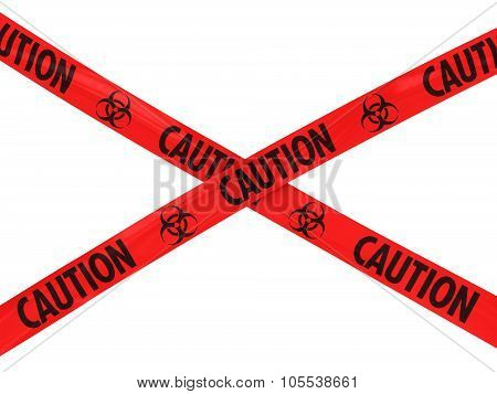 Red Caution Biohazard Symbol Barrier Tape Cross