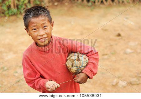 Small Footballer In Nagaland, India
