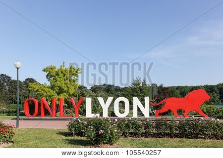 Lyon cityscape with Only Lyon sign