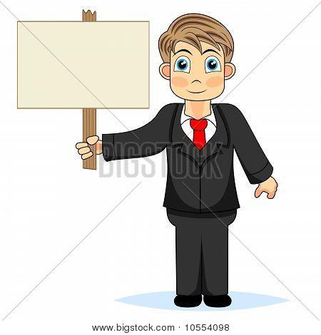 Cute boy businessman holding wood sign