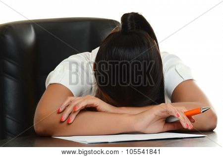 young woman hiding her face on table with documents on white